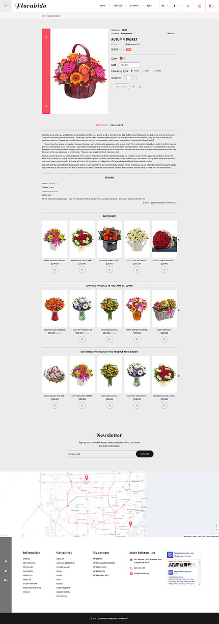 Website Design Template 62258 - catalog delivery chamomile daisy bouquet wrapping