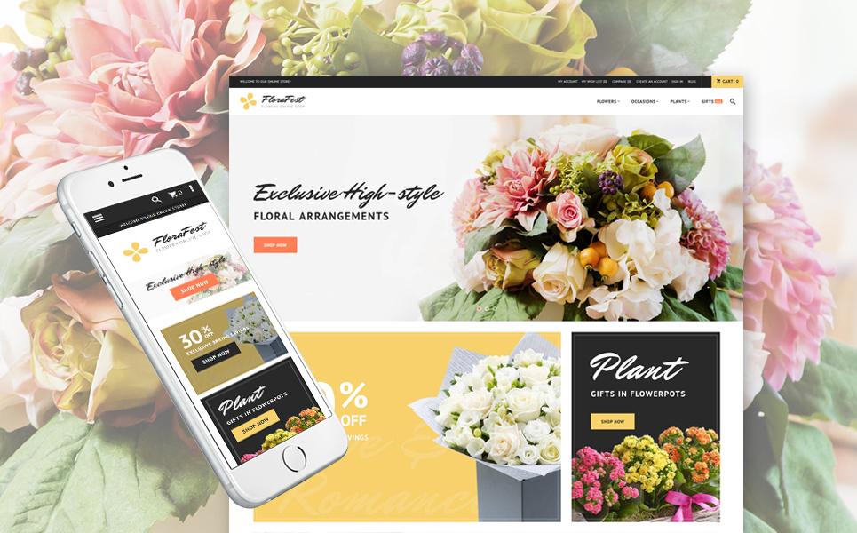 Plantilla para magento - Categoría: Flores - versión para Desktop