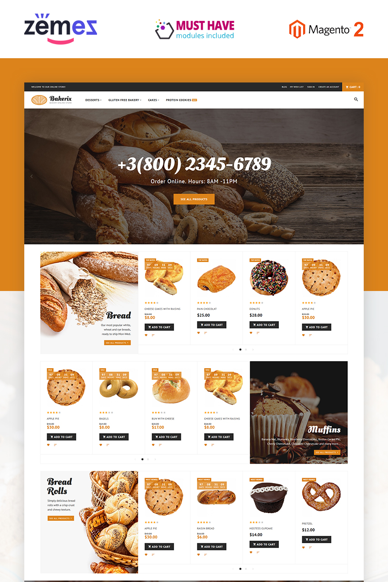 """Bakerix - Bakery & Cakes Responsive"" - адаптивний Magento шаблон №62282 - скріншот"