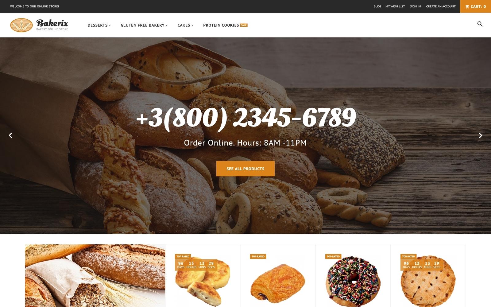 """""""Bakerix - Bakery & Cakes Responsive"""" Magento Thema №62282"""