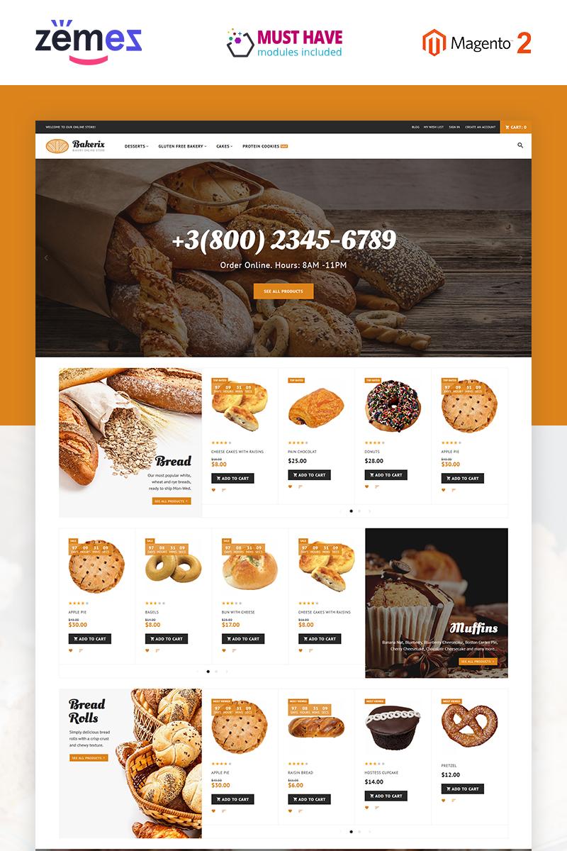 """""""Bakerix - Boulangerie et gâteaux"""" thème Magento adaptatif #62282"""
