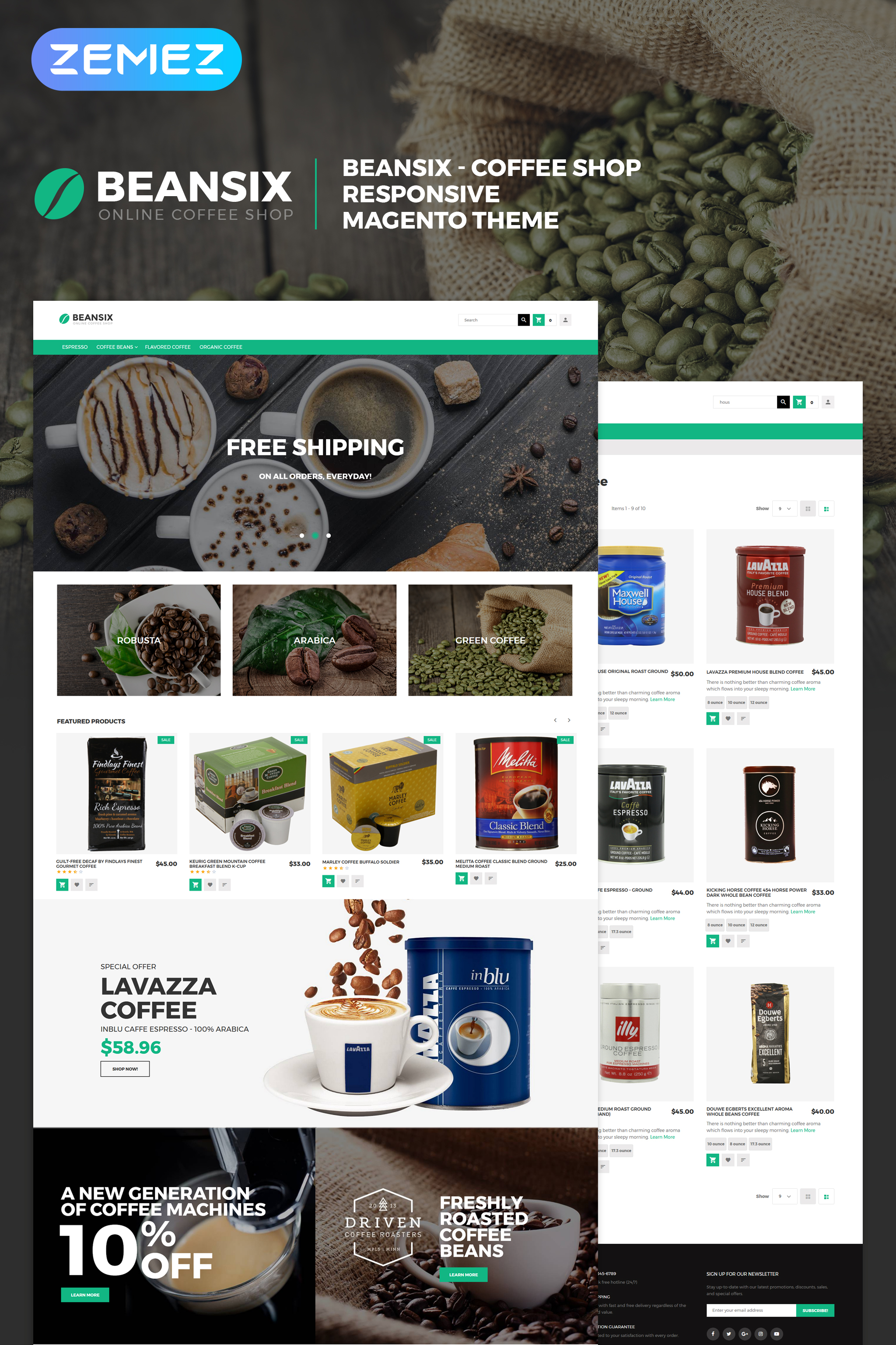Beansix - Coffee Shop Magento Theme - screenshot