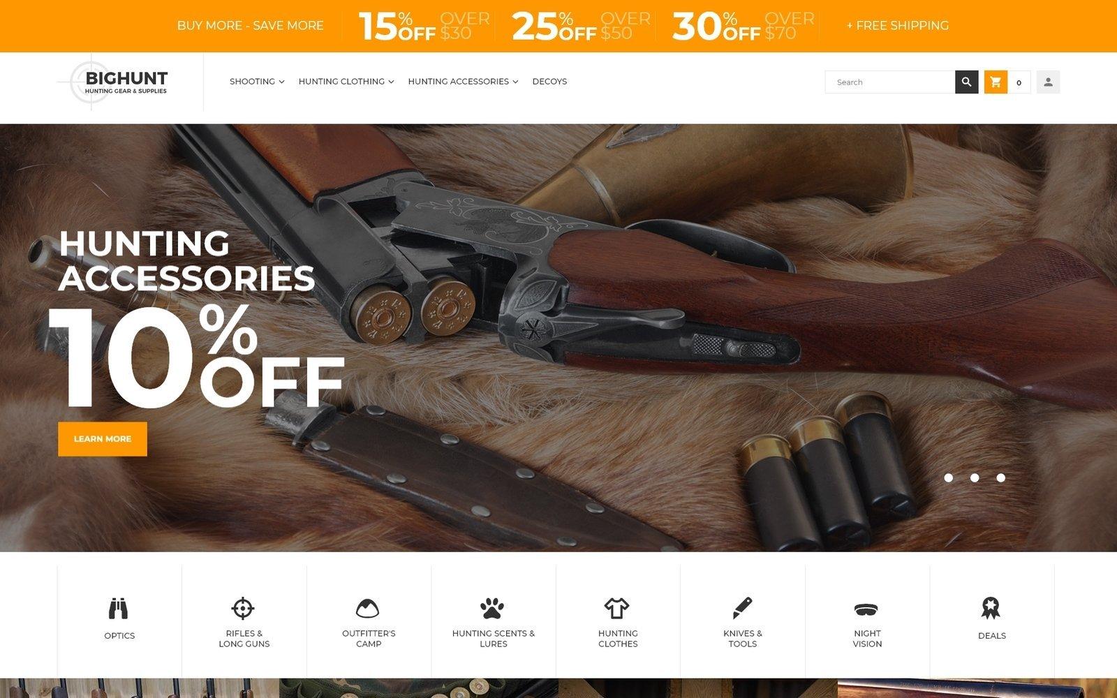 """BigHunt - Hunting Gear Store Template"" 响应式Magento模板 #62287"