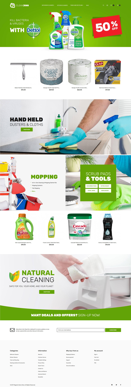 """""""CleanJinn - Magasin de produits et d'outils de nettoyage"""" thème Magento adaptatif #62251"""