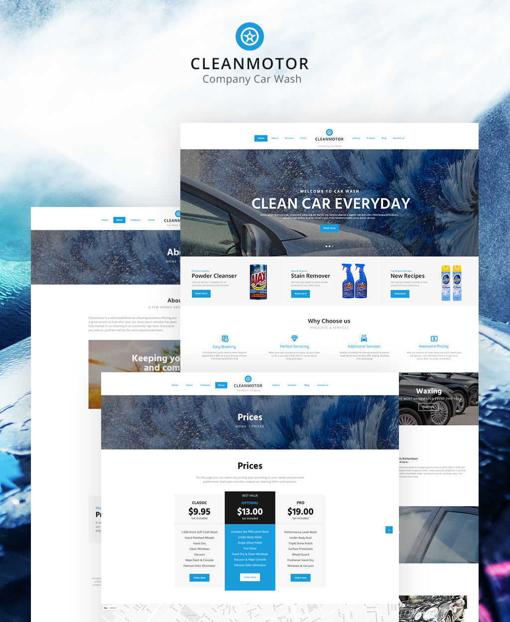 CleanMotor - Car Wash Company Responsive Multipage Website Template - screenshot