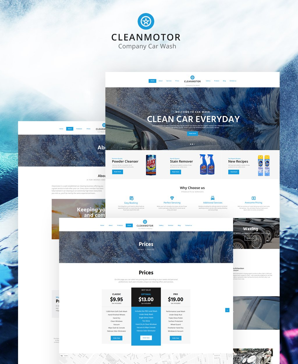 """CleanMotor - Car Wash Company Responsive Multipage"" 响应式网页模板 #62241"