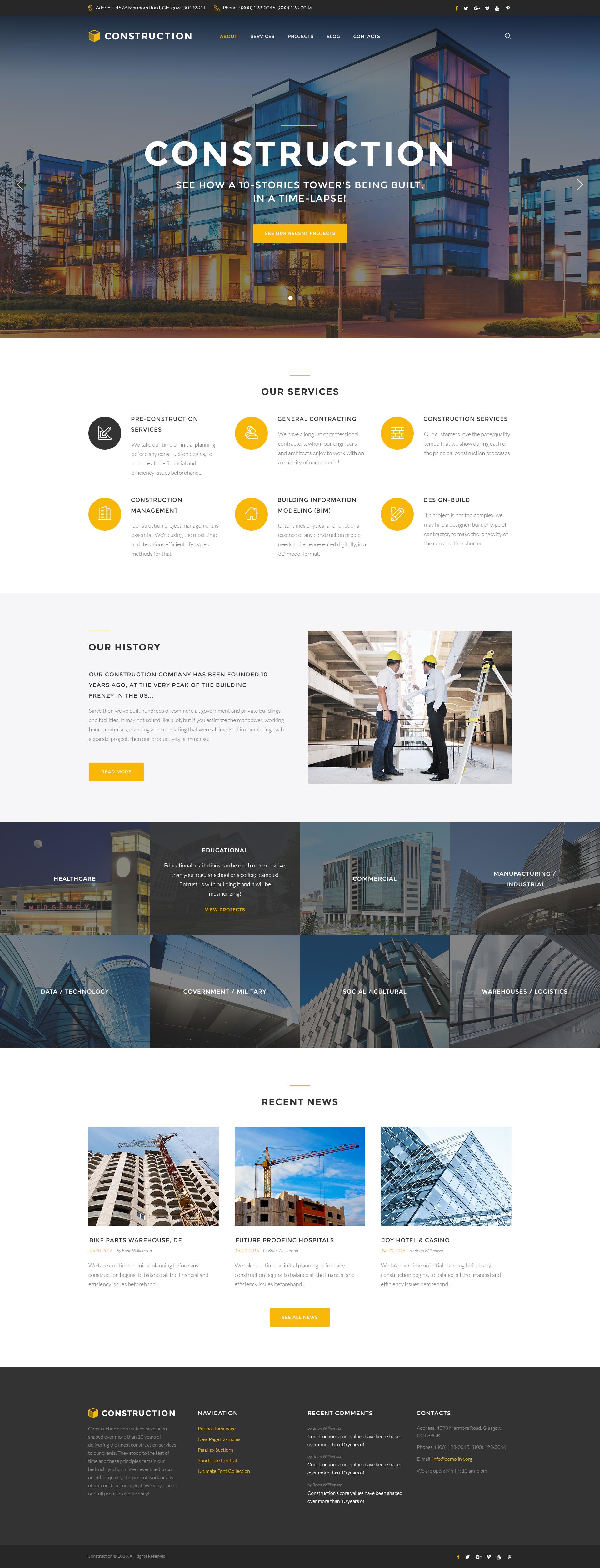 """Construction - Construction Company Responsive Multipage"" - адаптивний Шаблон сайту №62269"
