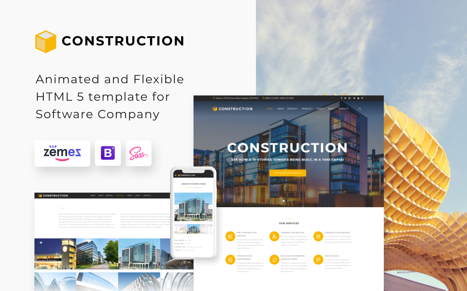 """Construction - Construction Company Responsive Multipage"" Responsive Website template №62269"