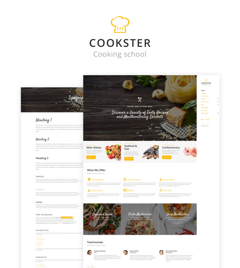 Cookster - Cooking School Responsive Multipage Website Template
