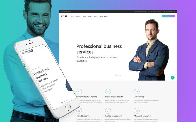 Corp - Consulting Firm Responsive Multipage Website Template New Screenshots BIG