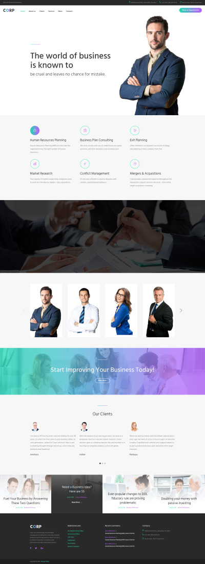 Corp - Consulting Firm Responsive Multipage Website Template #62270
