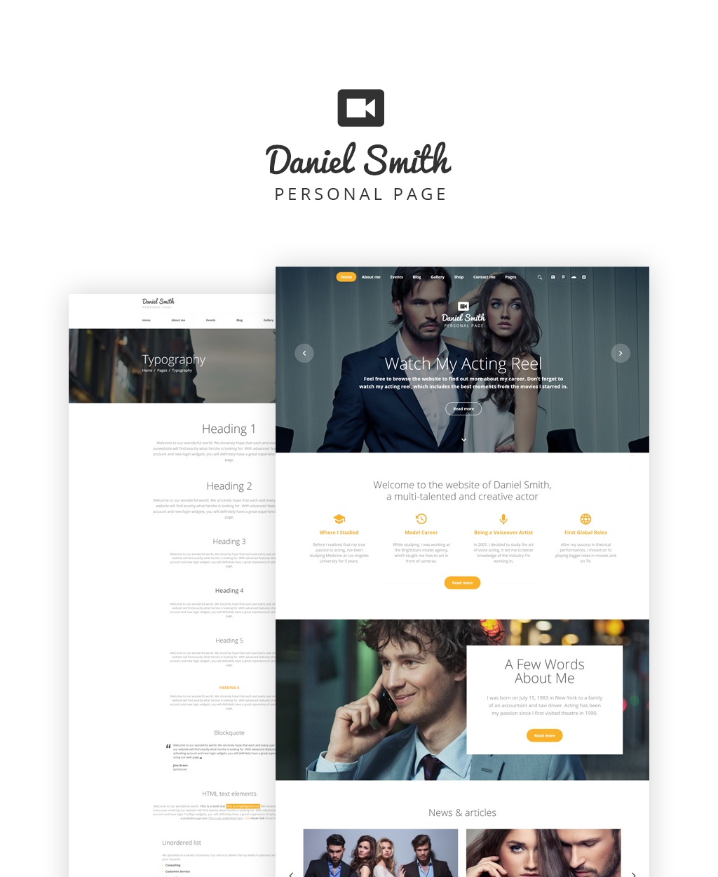 Daniel Smith - Personal Page Responsive Multipage Website Template - screenshot
