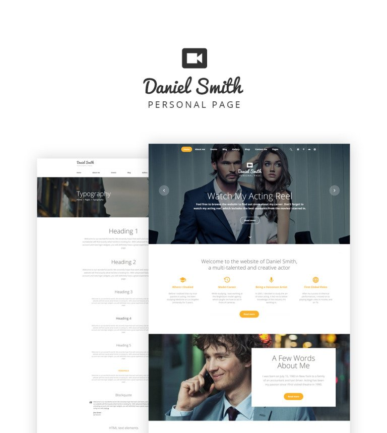 Personal Web Page Website Template - Free responsive personal website templates
