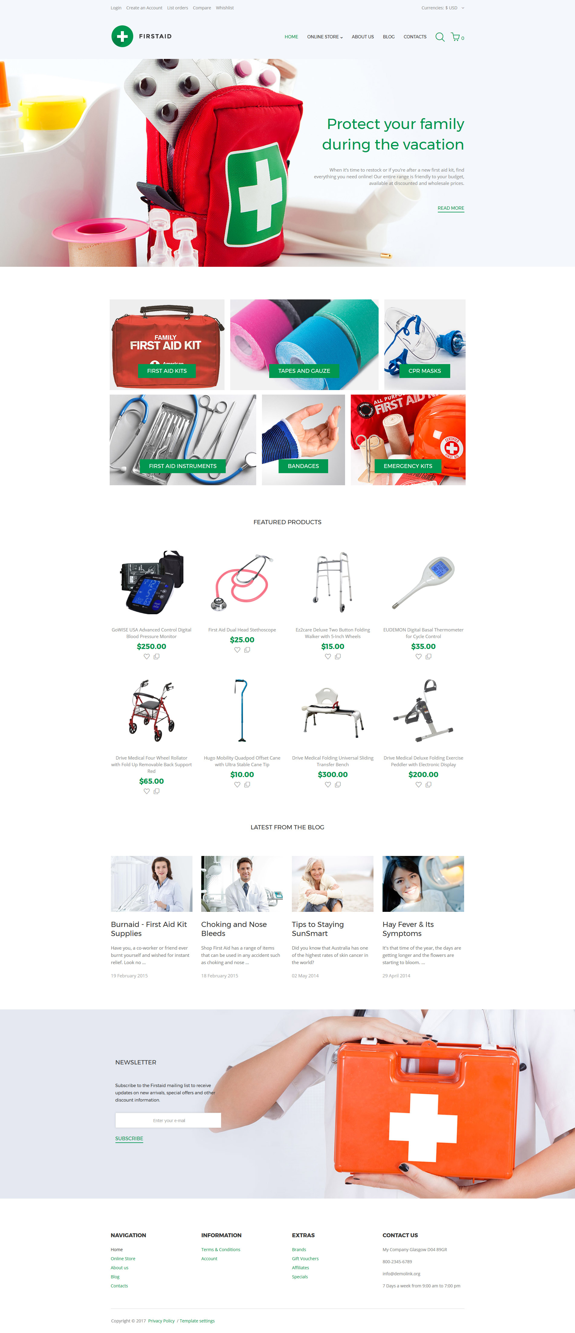 """First Aid Responsive"" VirtueMart Template №62293"