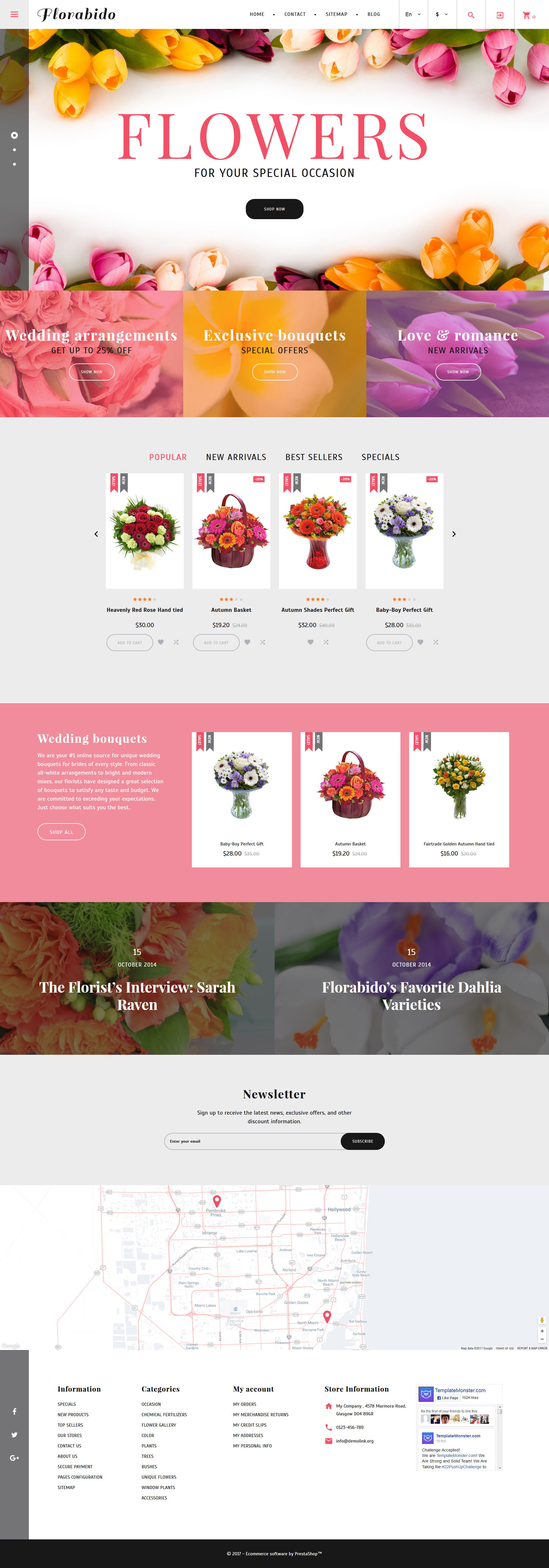 """Florabido - Bouquets & Floral Arrangement"" - адаптивний PrestaShop шаблон №62258"