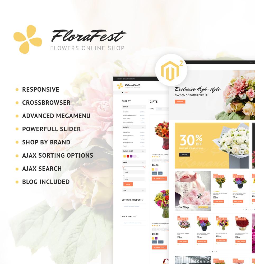 """FloraFest - Flower Shop Responsive"" 响应式Magento模板 #62284 - 截图"