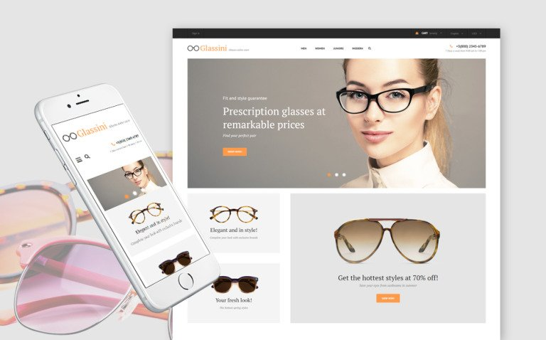 Glassini - Glasses Store Responsive PrestaShop Theme New Screenshots BIG