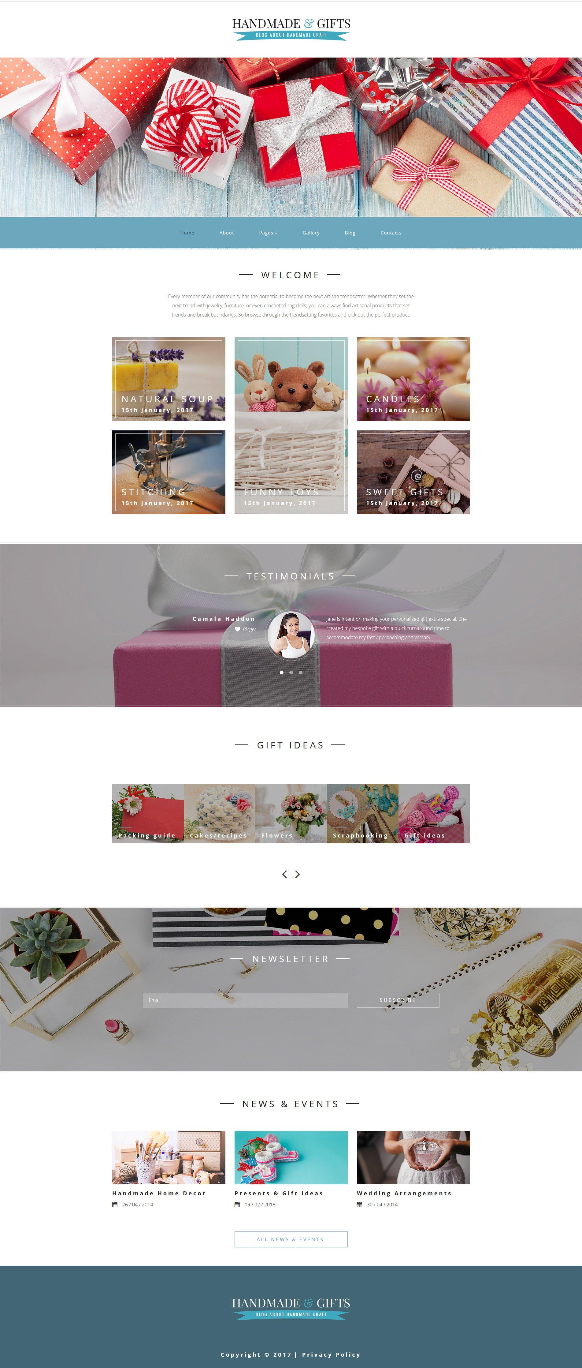 """Handmade & Gifts - Crafts Blog and Gift Store"" - адаптивний Joomla шаблон №62277 - скріншот"