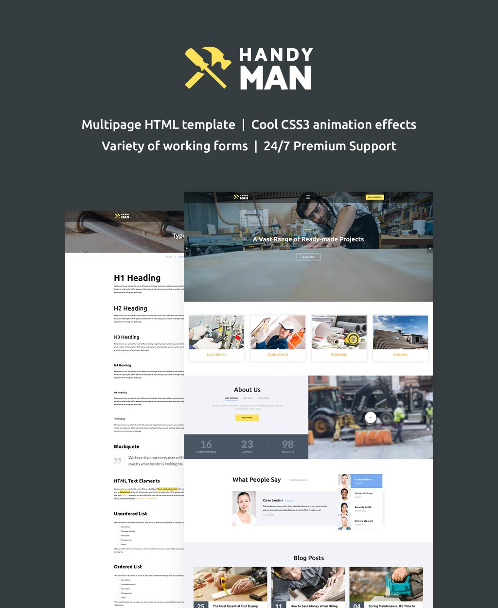"""""""Handyman Multipage"""" - адаптивний Шаблон сайту №62262"""