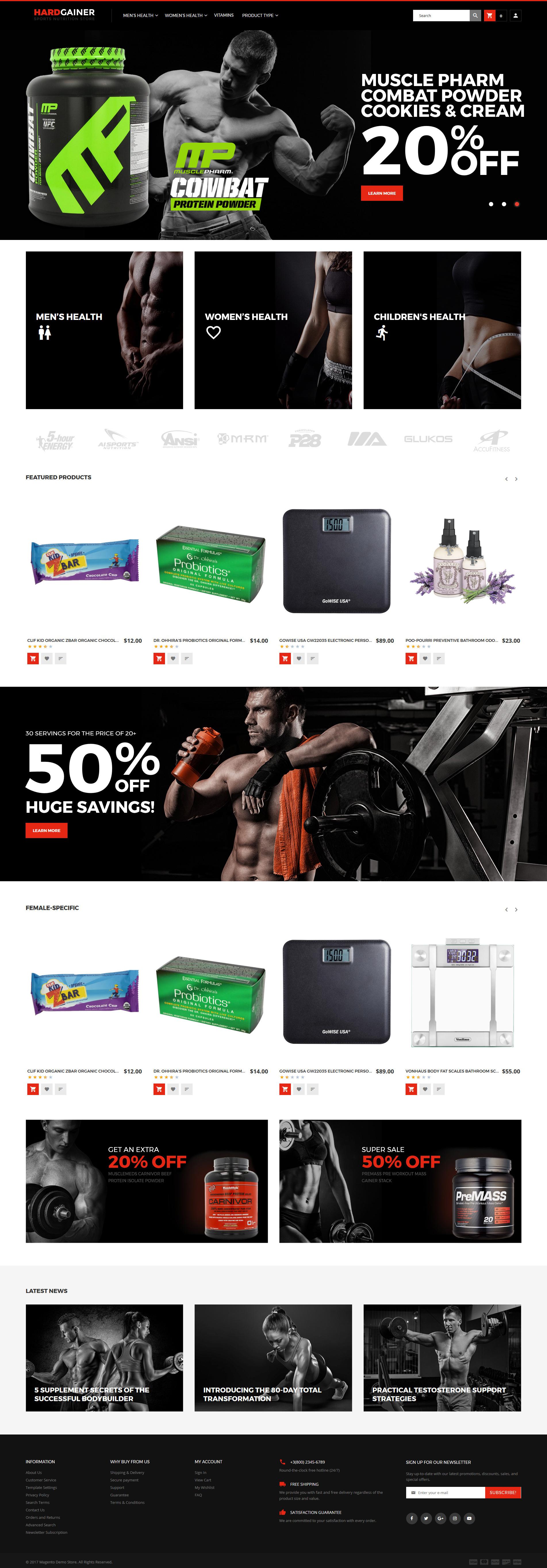 """Hard Gainer - Sports Nutrition Store Responsive"" - адаптивний Magento шаблон №62288"