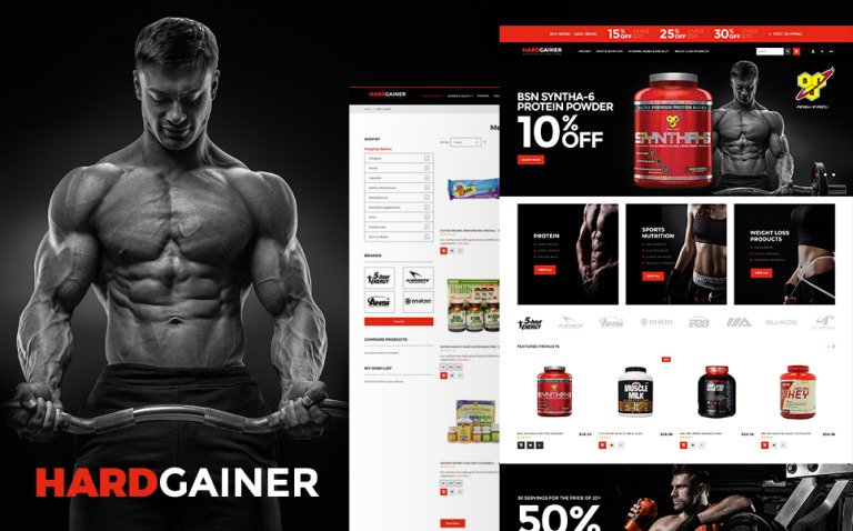 Hard Gainer - Sports Nutrition Store Responsive Magento Theme New Screenshots BIG