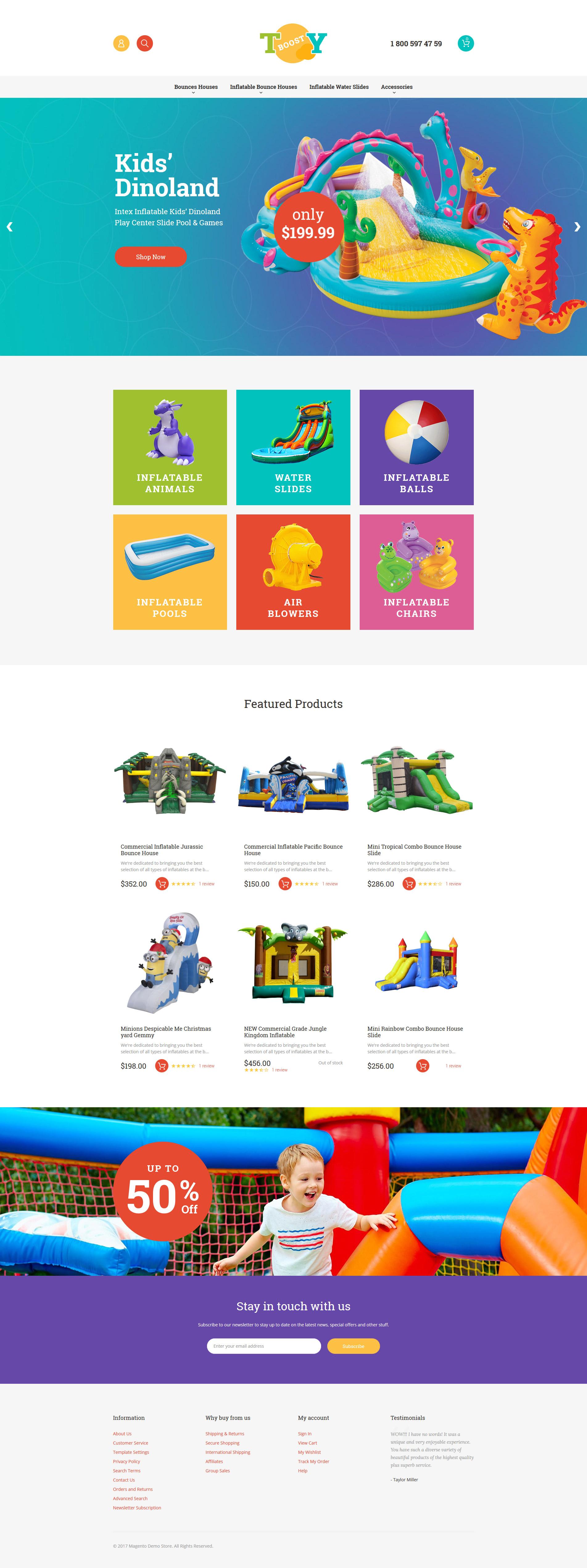 """Inflatable Toys"" - адаптивний Magento шаблон №62247 - скріншот"