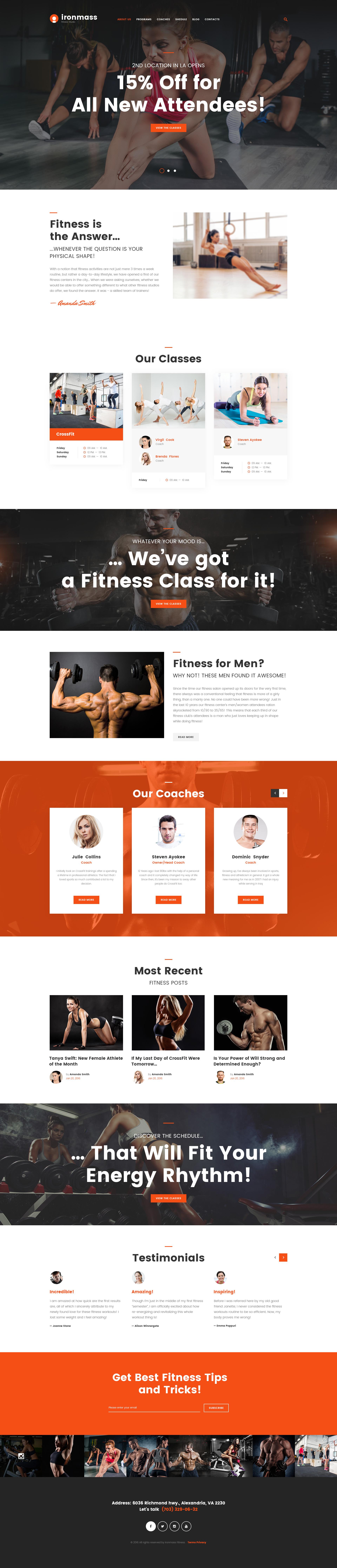 """""""Ironmass - Fitness Center Multipage"""" Responsive Website template №62271 - screenshot"""