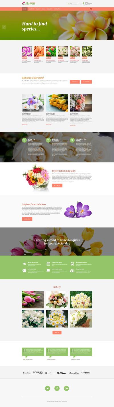 Адаптивный Joomla шаблон №62256 на тему цветочный магазин