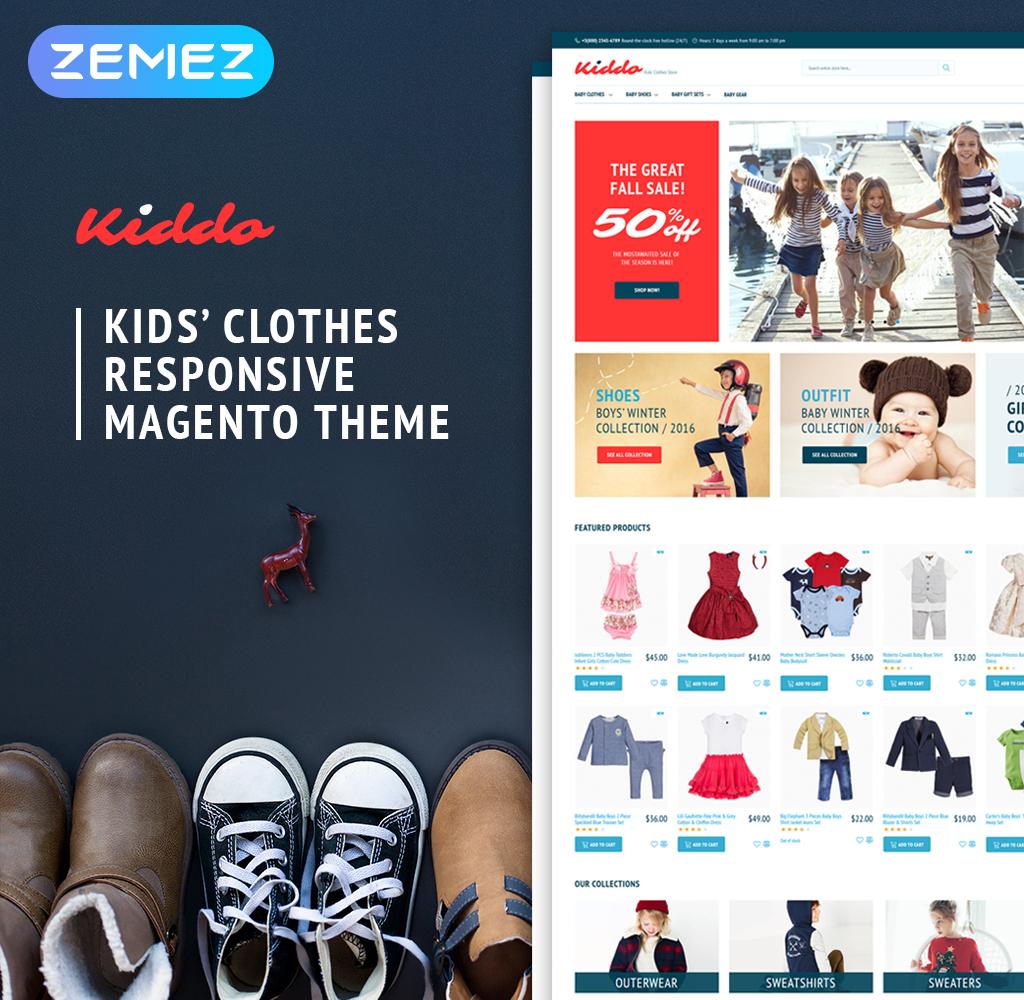 """""""Kiddo - Kids Fashion"""" Responsive Magento Thema №62280 - screenshot"""