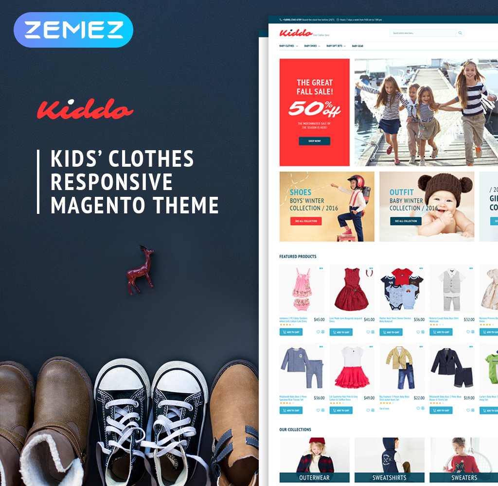 """Kiddo - Kids Fashion"" thème Magento adaptatif #62280"