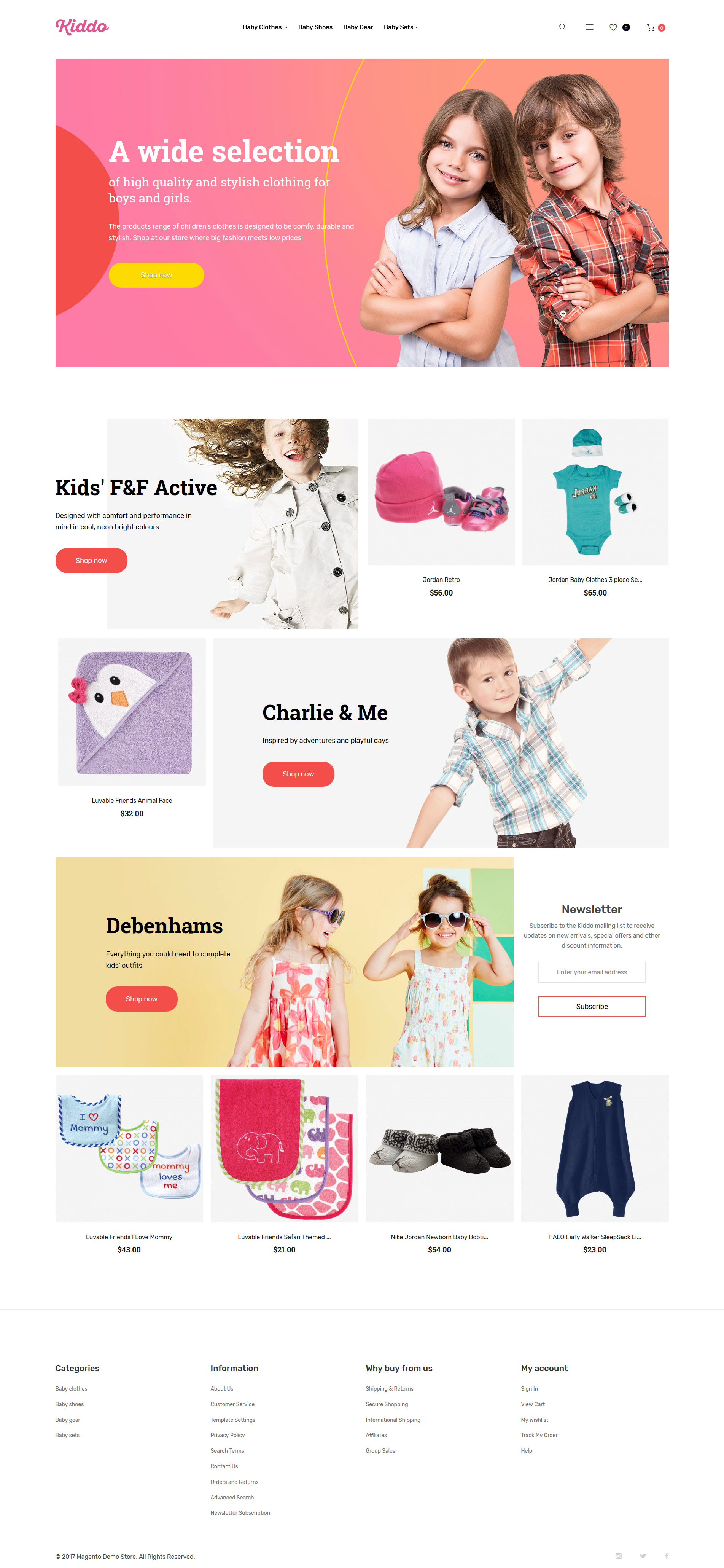 """Kids Clothing Mobile-Optimized"" thème Magento adaptatif #62248"
