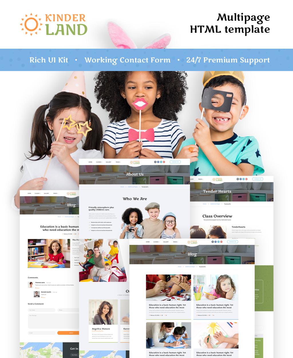 """""""Kinder Land - Kids Center Responsive HTML5"""" Responsive Website template №62263"""