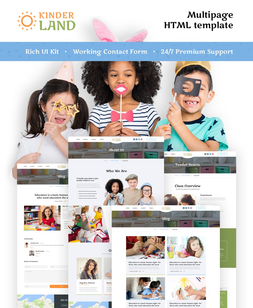 """Kinder Land - Kids Center Responsive HTML5"" 响应式网页模板 #62263"