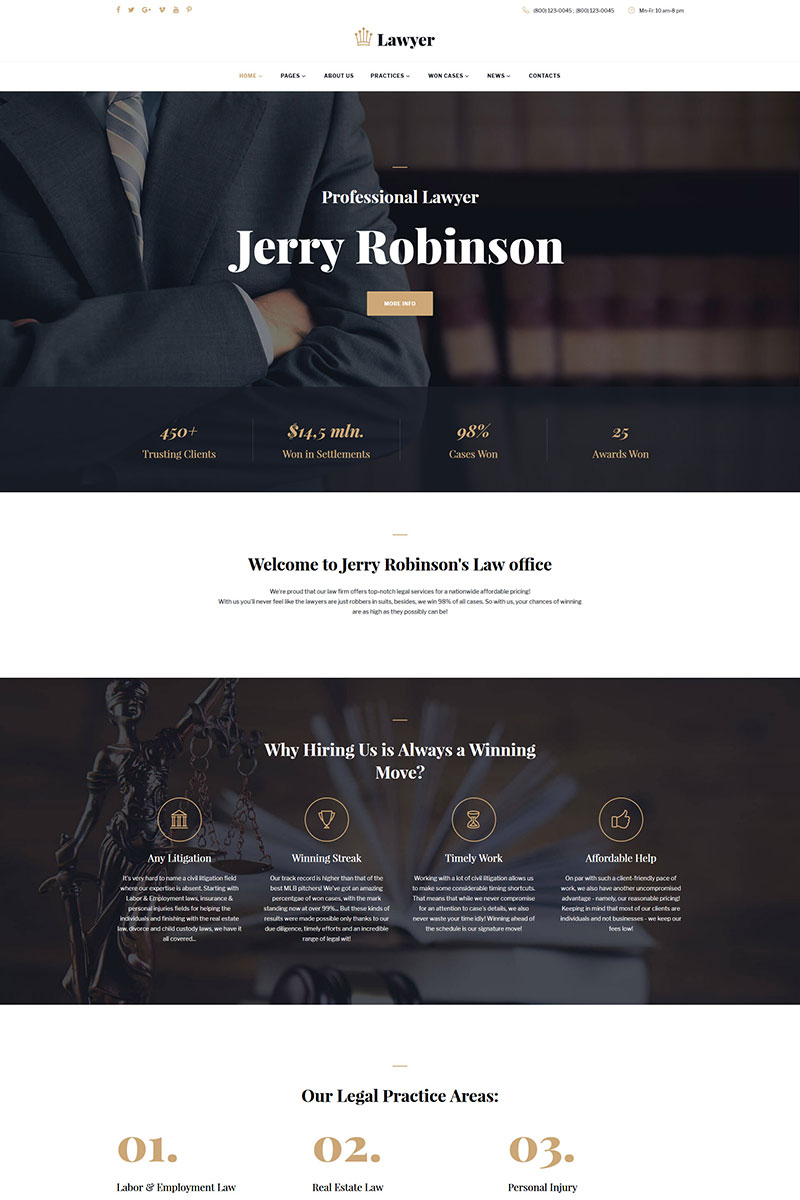 Lawyer & Attorney Multipage Website Template - screenshot