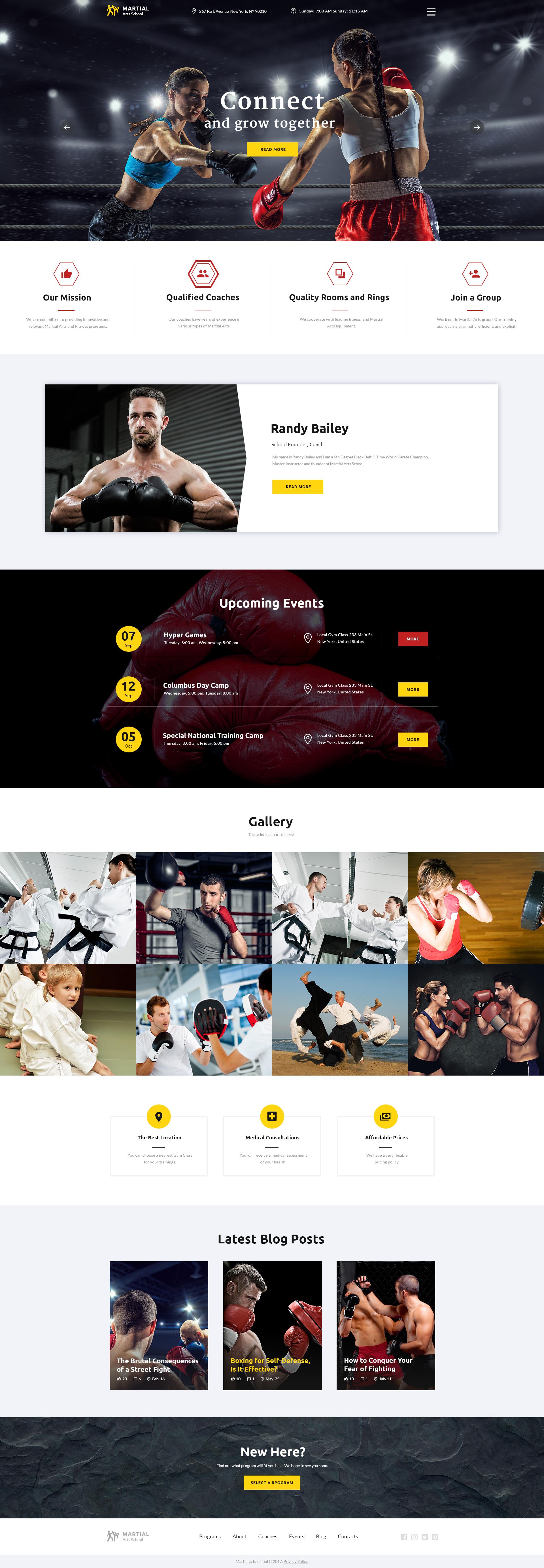 """Martial Arts School Responsive Multipage"" - адаптивний Шаблон сайту №62244"