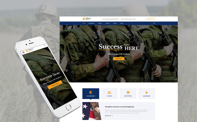 Military School Multipage Website Template New Screenshots BIG