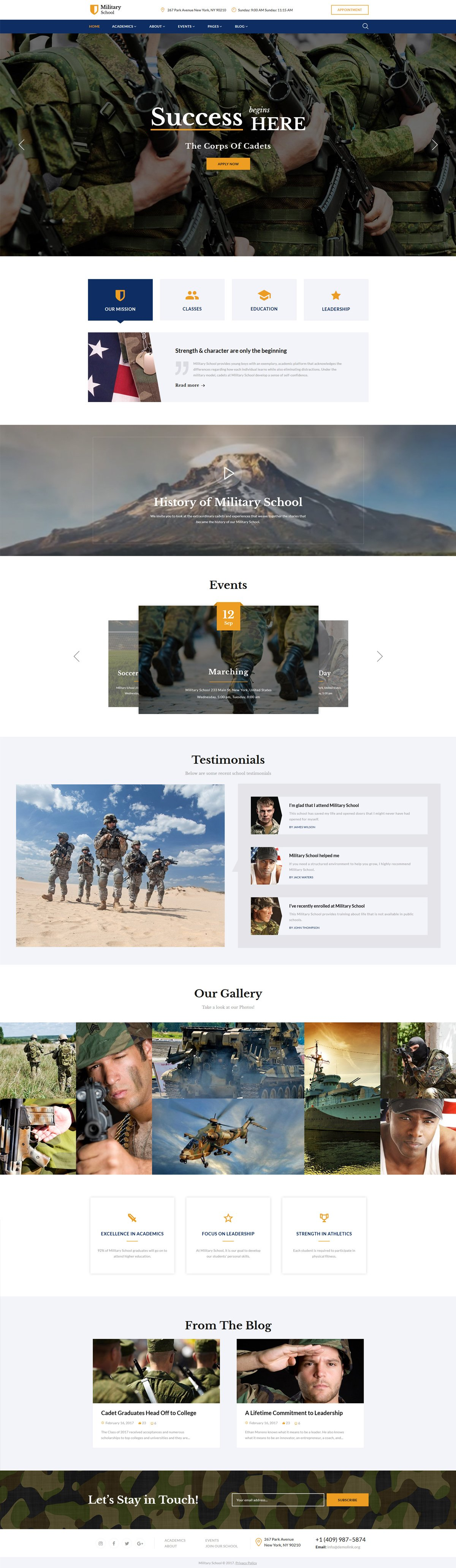 Military School Multipage Website Template