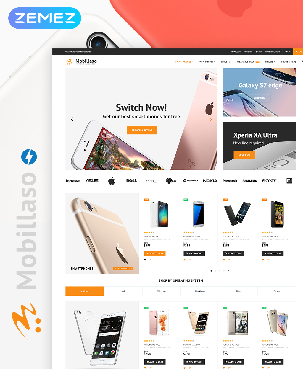 """Mobillaso - Mobile Store Responsive"" 响应式Magento模板 #62283"