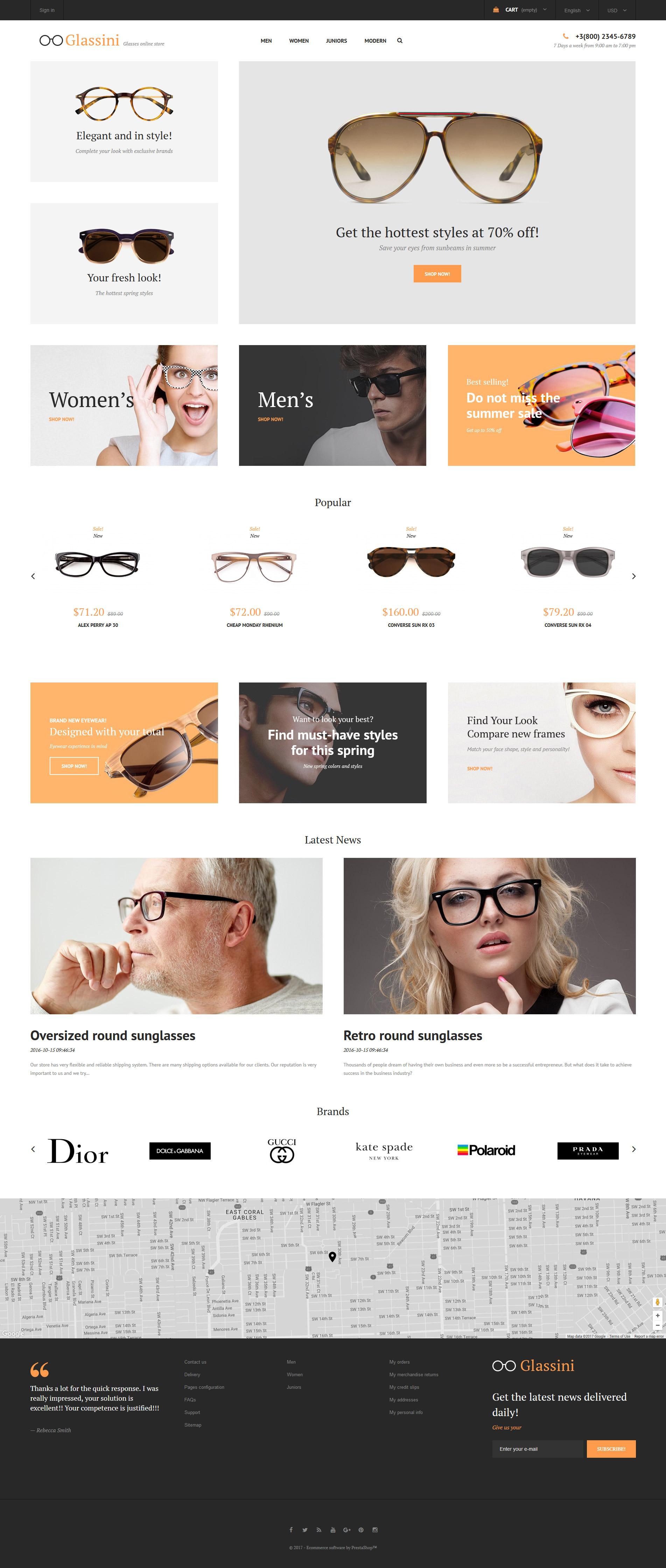"""Modello PrestaShop Responsive #62279 """"Glassini - Glasses Store Responsive"""" - screenshot"""