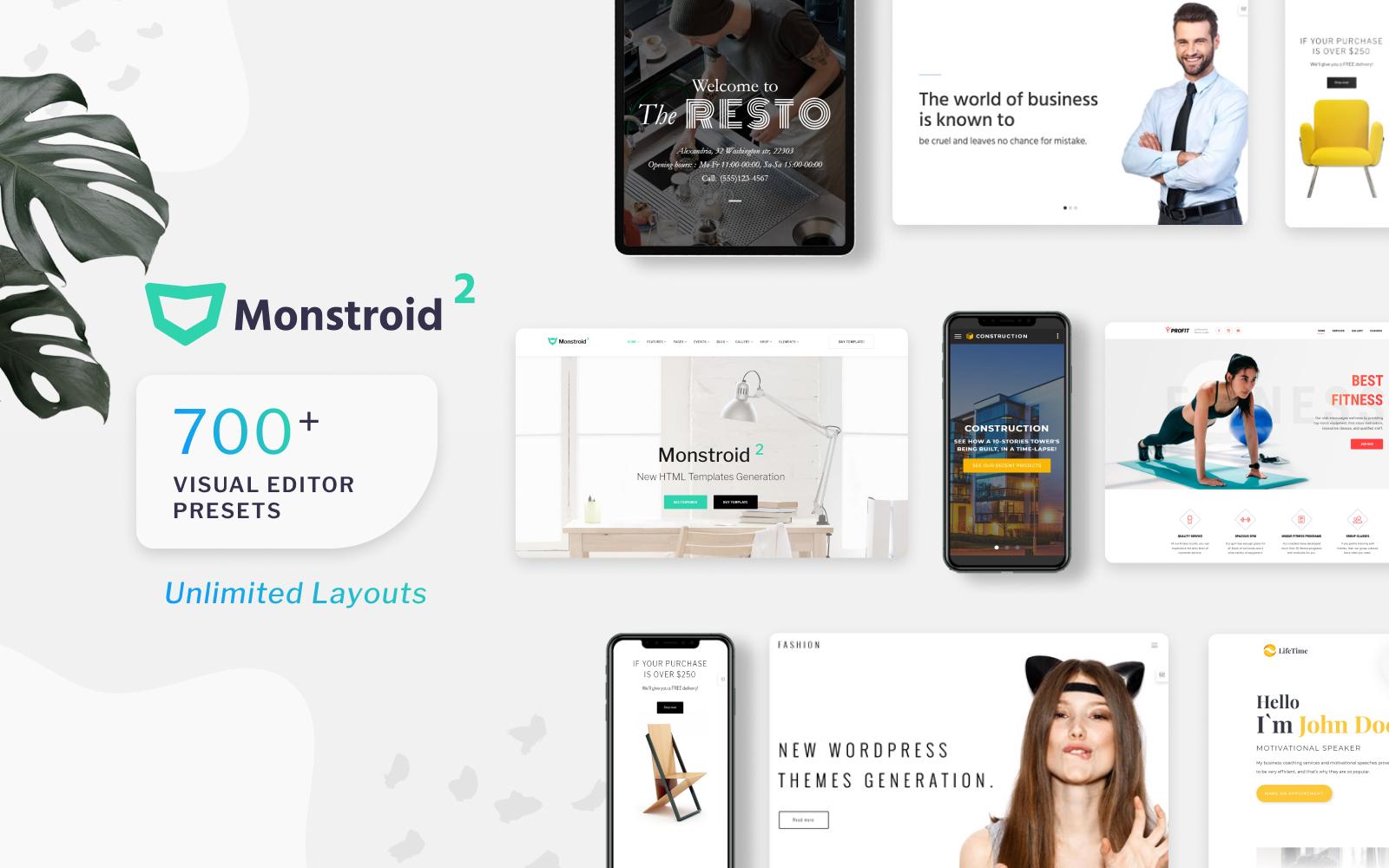 """""""Monstroid2 - універсальний"""" - адаптивний Шаблон сайту №62267"""