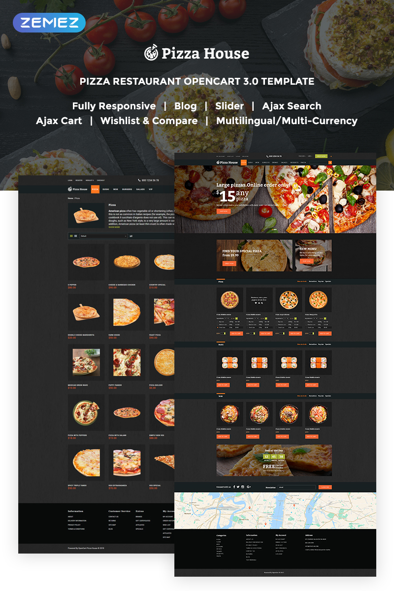 """Pizza House - Pizza Restaurant With Online Ordering System"" thème OpenCart adaptatif #62294"