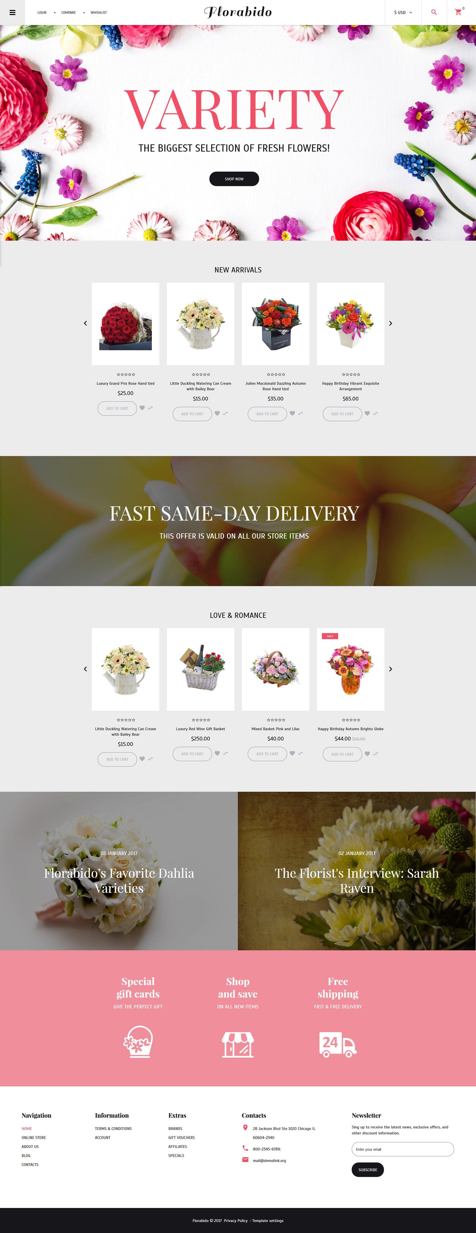 Plantilla VirtueMart #62231 para Sitio de Tienda de Flores