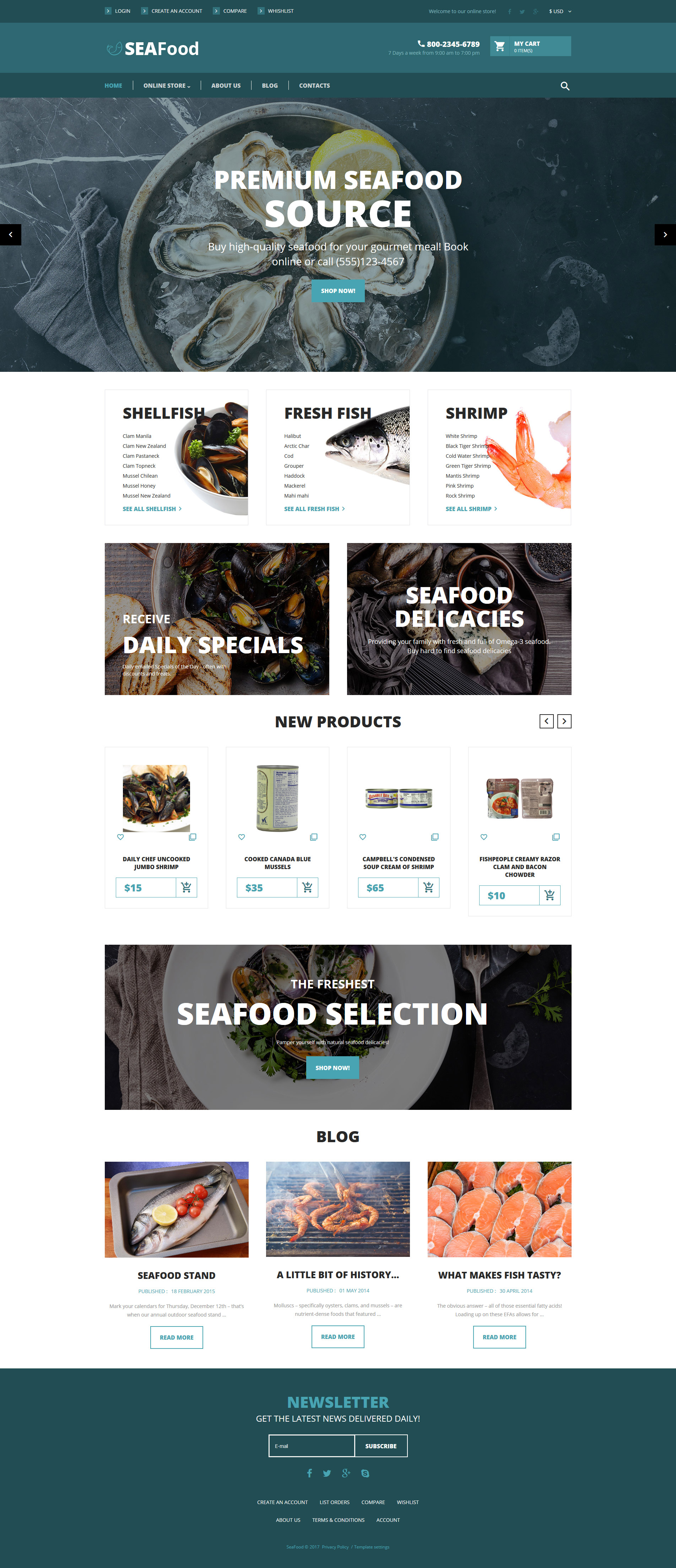 "Plantilla VirtueMart ""SeaFood - The Best Seafood Delicacies"" #62204"
