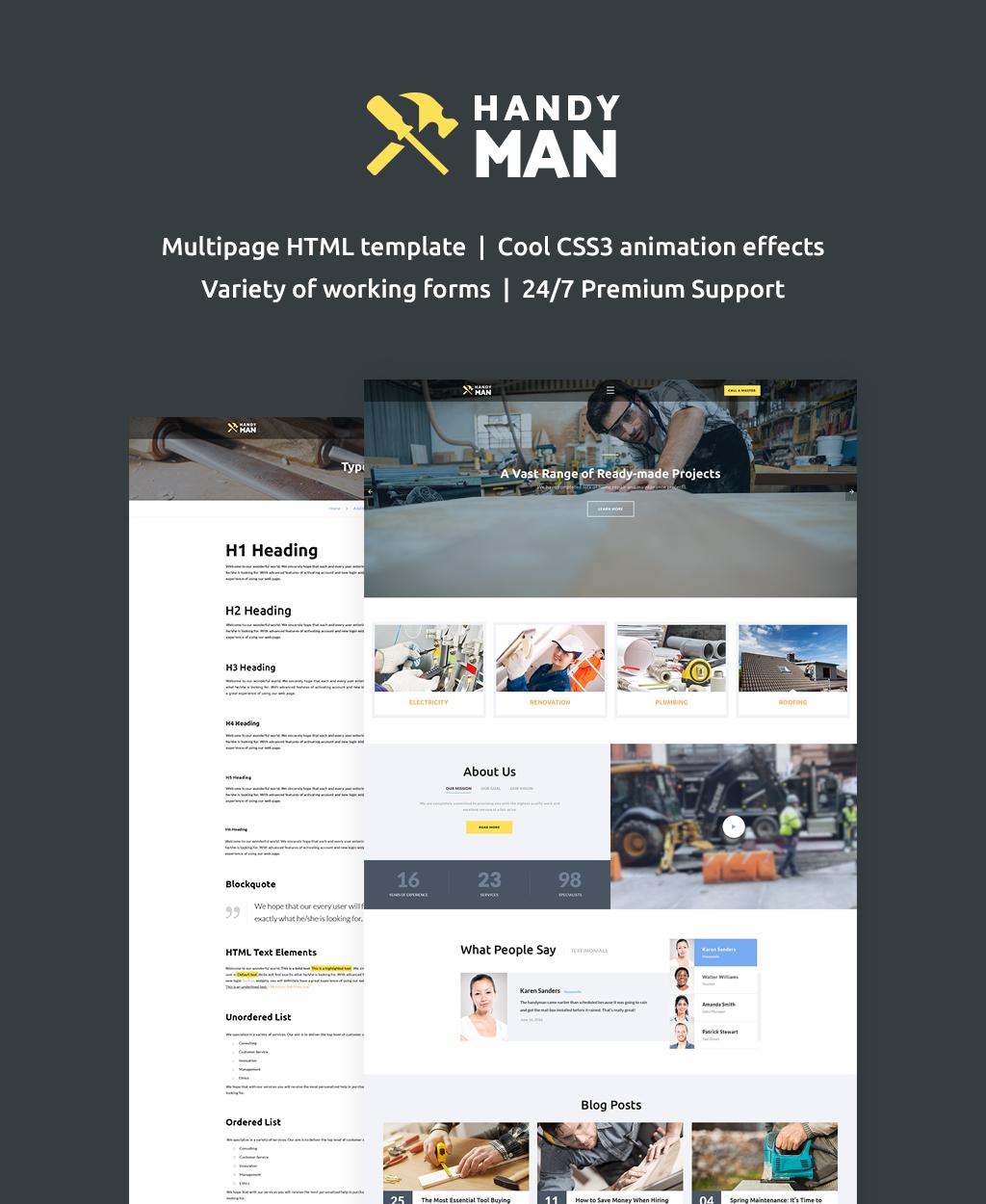 """Plantilla Web """"Handyman Multipage"""" #62262"""