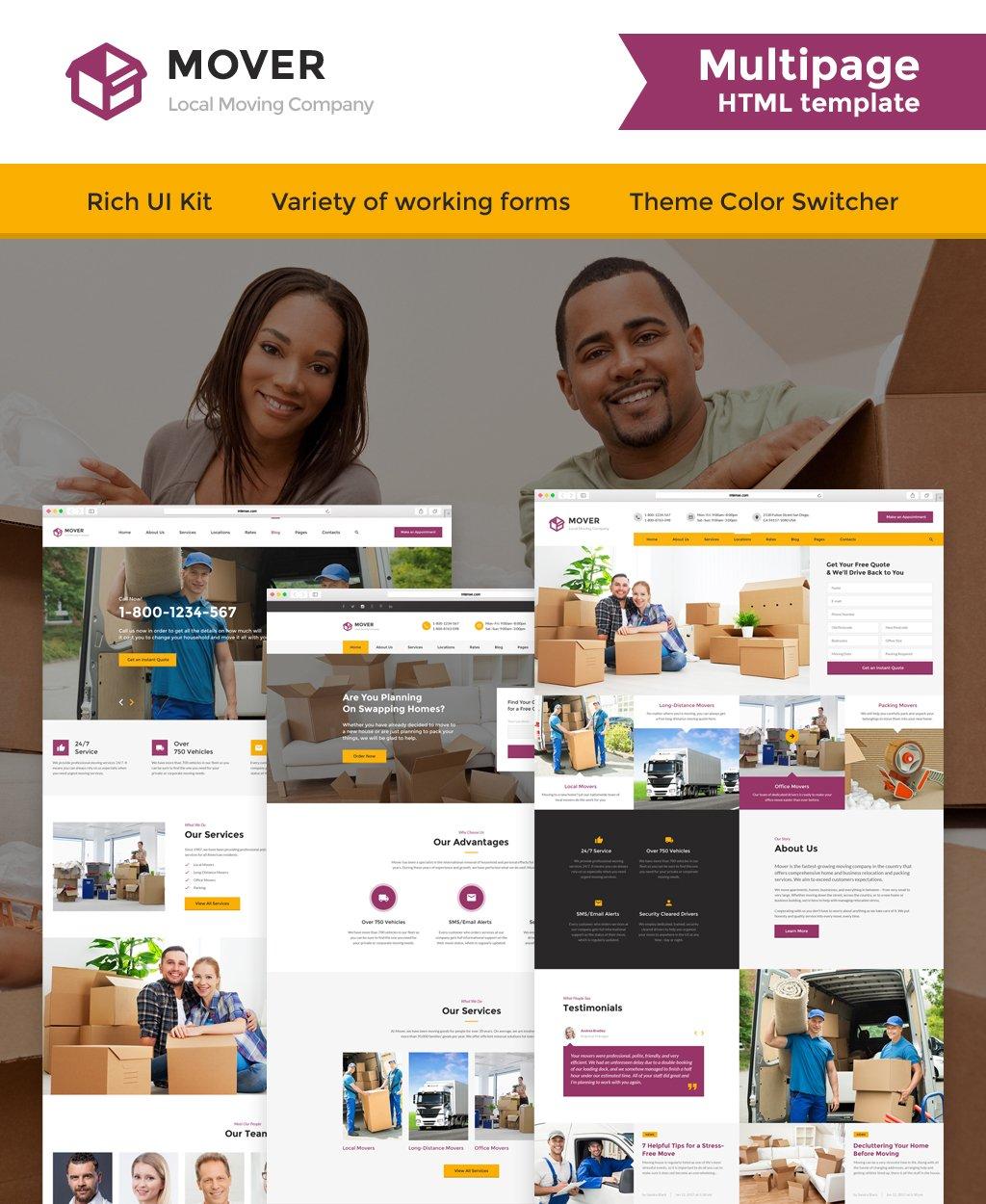 """Plantilla Web """"Moving Company Responsive"""" #62203 - captura de pantalla"""