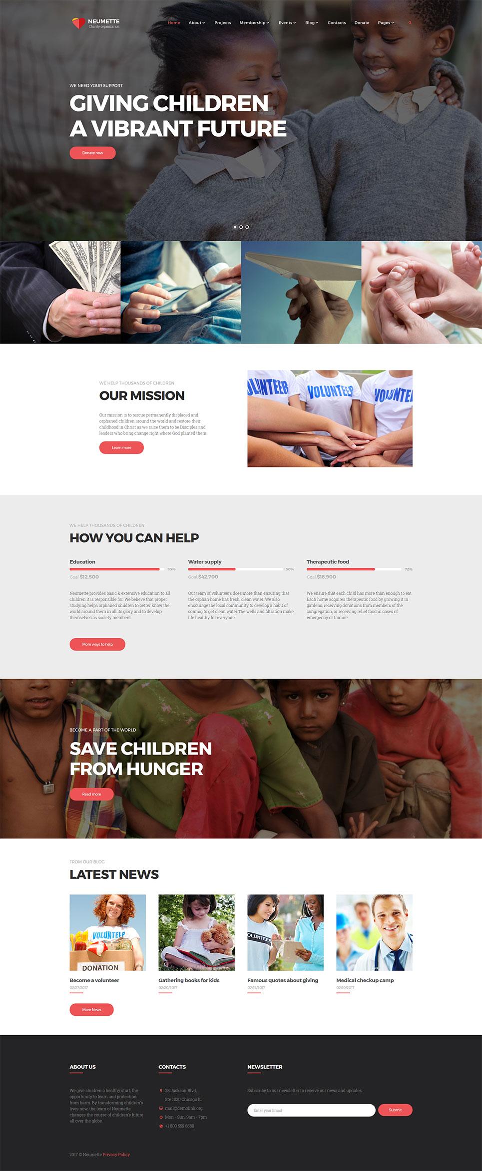 Plantilla Web #62299 para Sitio de Caridad para niños