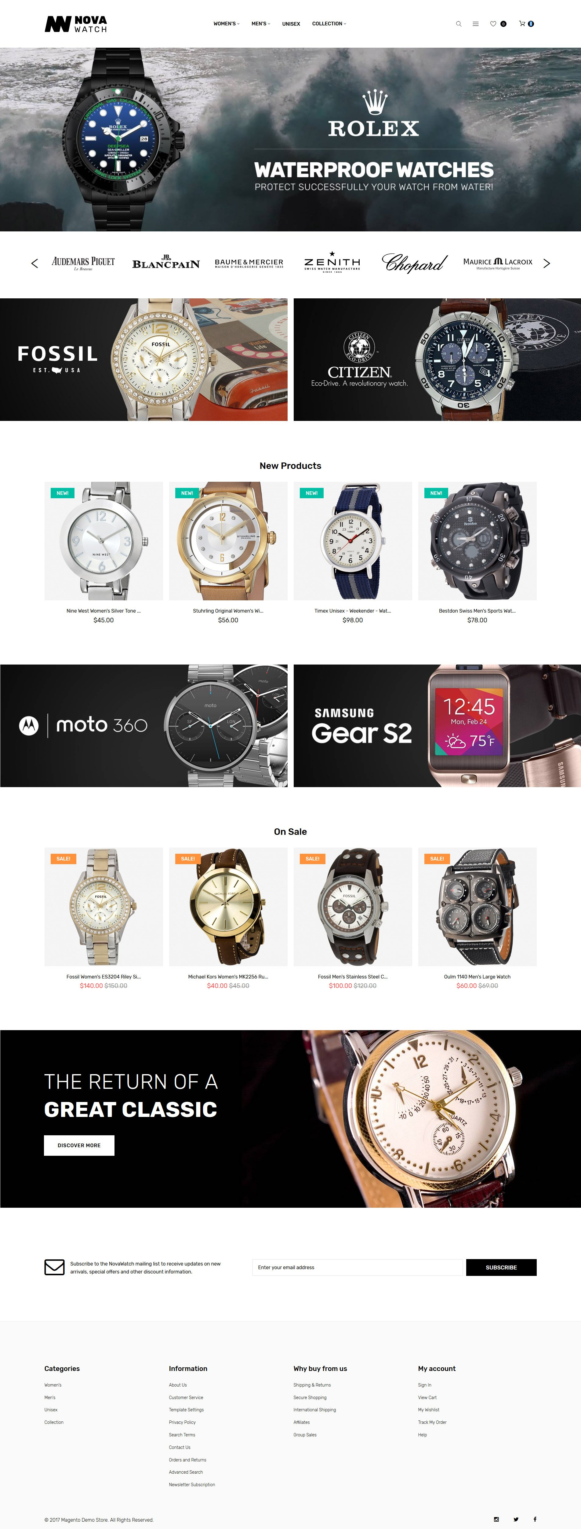 Responsive NovaWatch - Watches Store Responsive Magento #62253