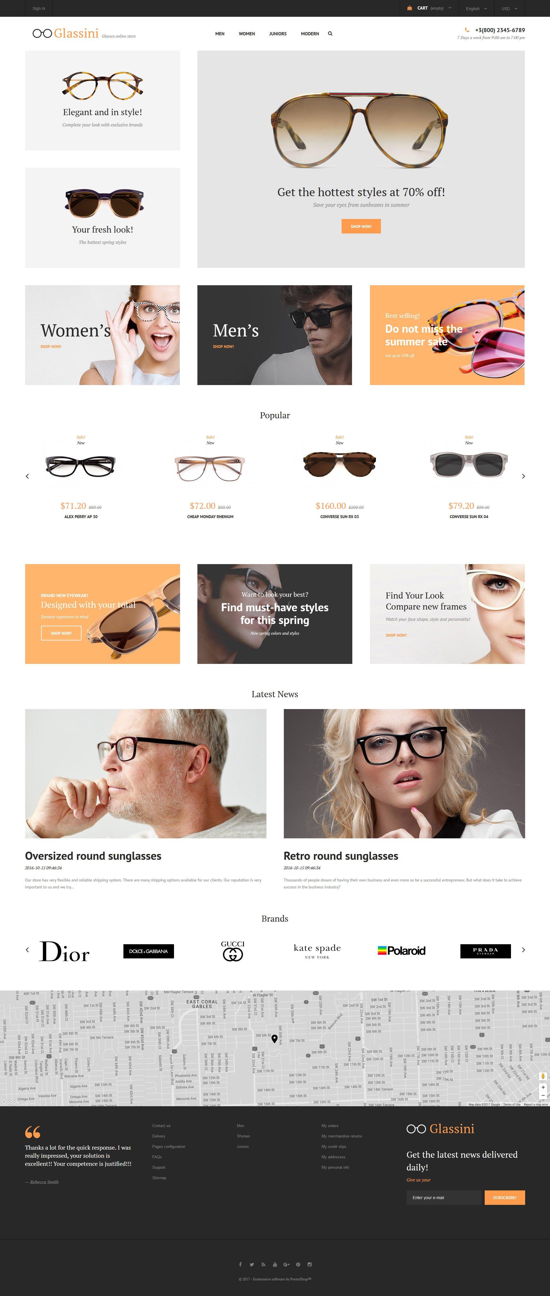 Responsivt Glassini - Glasses Store Responsive PrestaShop-tema #62279 - skärmbild