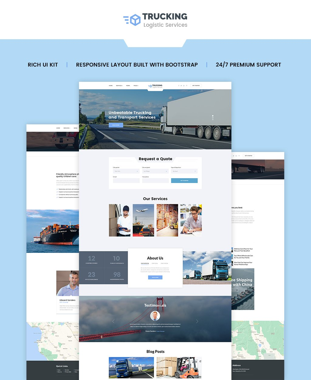 Responsivt Trucking - Logistics & Transportation Services HTML Hemsidemall #62264 - skärmbild