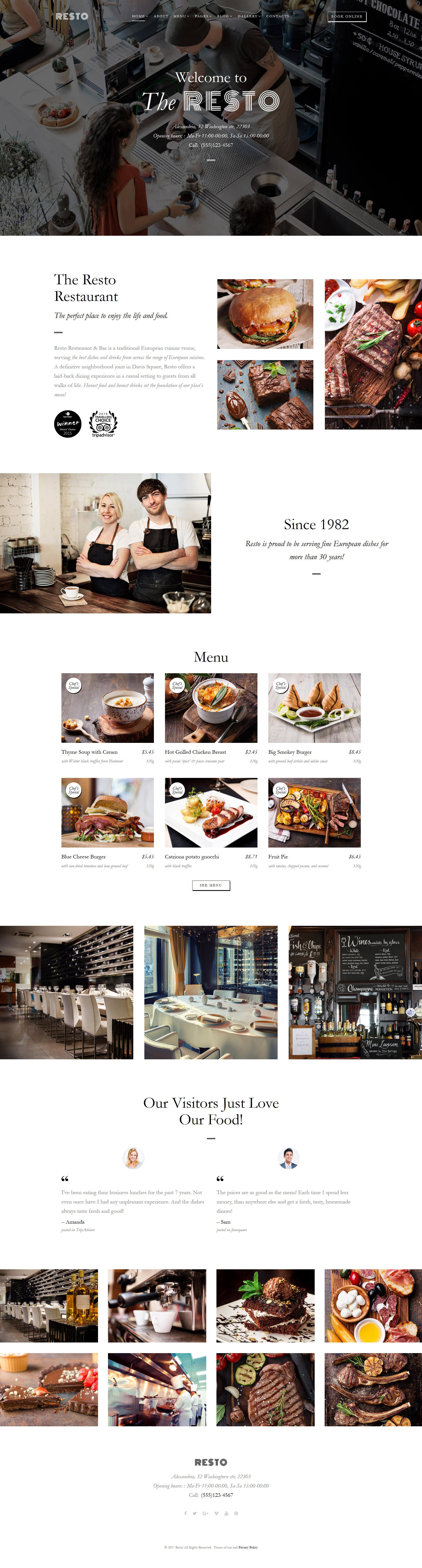 """Resto - Cafe & Restaurant Multipage"" 响应式网页模板 #62276 - 截图"